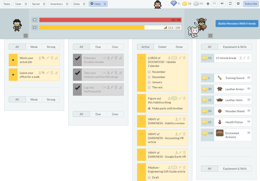 What my Habitica dashboard looked like when I first started. Huge difference from then and now.