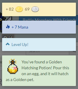 An example of the experience, mana and items you receive upon completing your tasks.