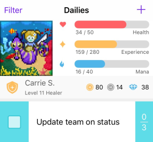 An example of the iOS Habitica app, care of the official Press Kit.
